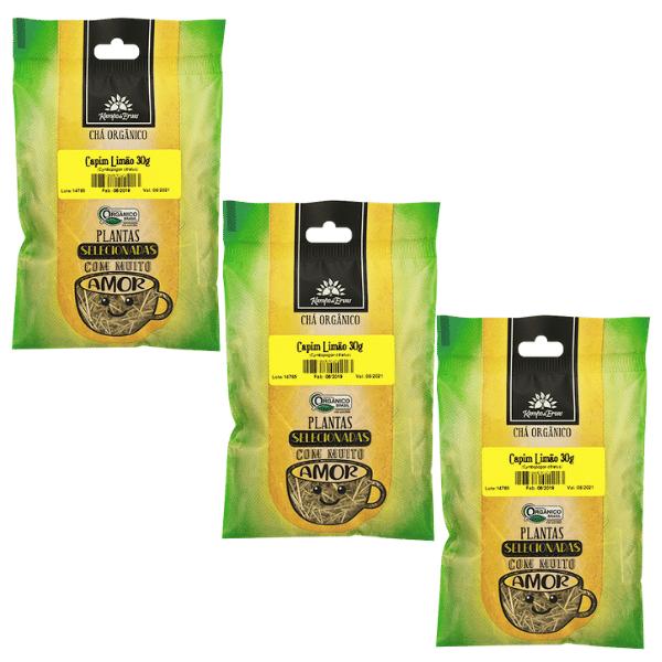 Capim Limão Orgânico só Folhas 3 und 30g cada Kampo de Ervas