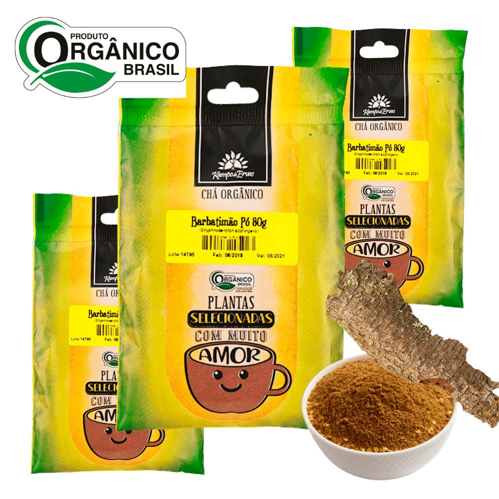 Barbatimão Chá Orgânico em pó Kampo de Ervas 3 und 80 g cada