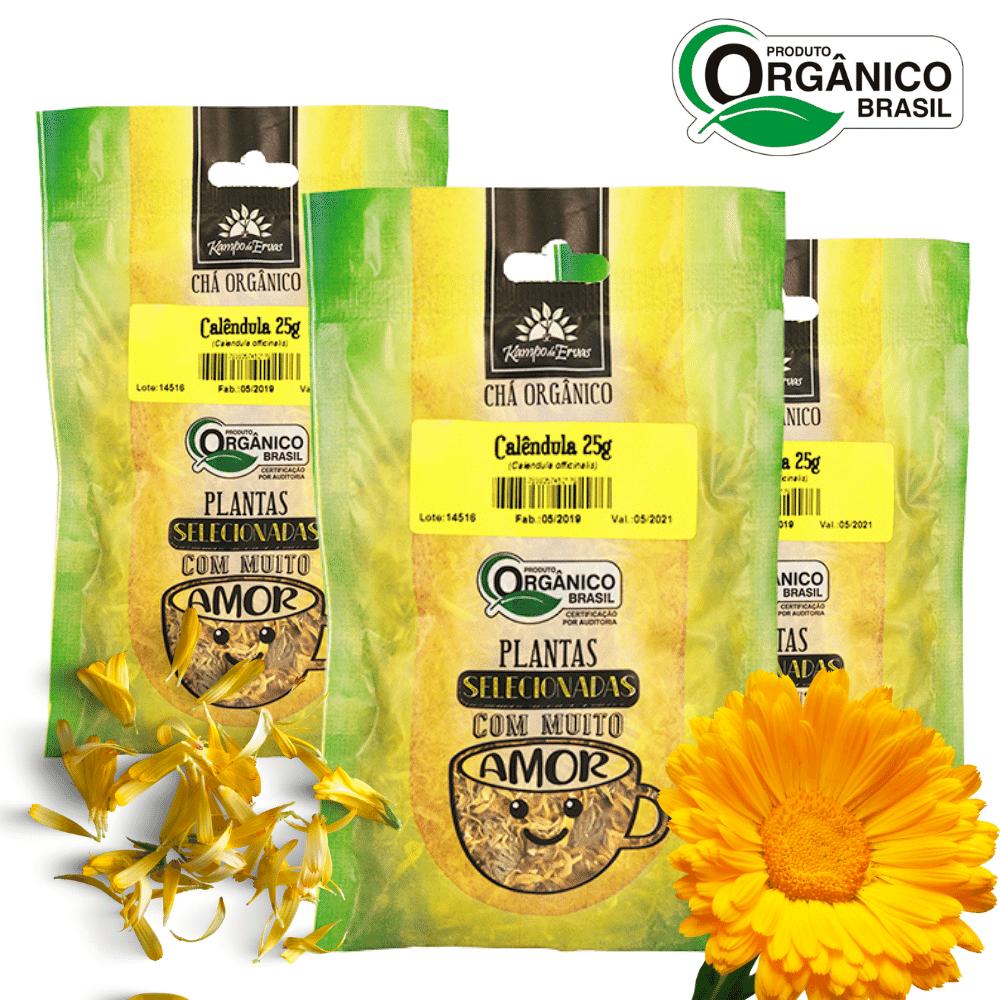 3 Chás de Calêndula PURA Flor 25 g - Orgânica e Certificada