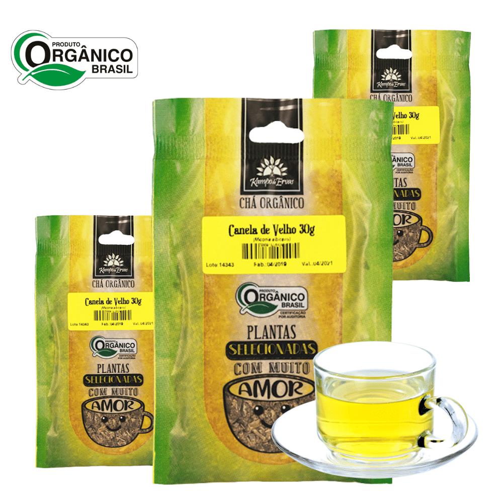 3 Chás de Canela de Velho 100% Folhas 30g Orgânica e Certif
