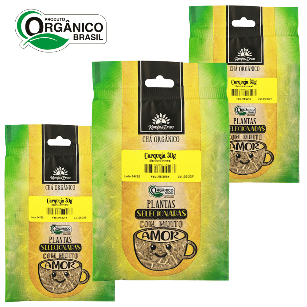 3 Chás de Carqueja PURA 30 g cada - Orgânico e Certificado