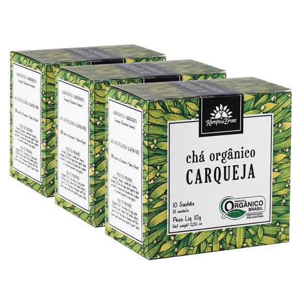 3 Chás de Carqueja PURA - 30 sachês - Orgânico e Certificado