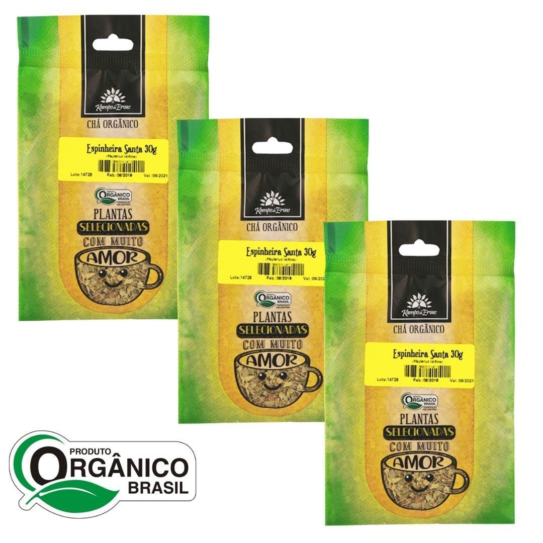 Espinheira Santa Chá Orgânico 100% Folhas 3 pacotes 30g cada