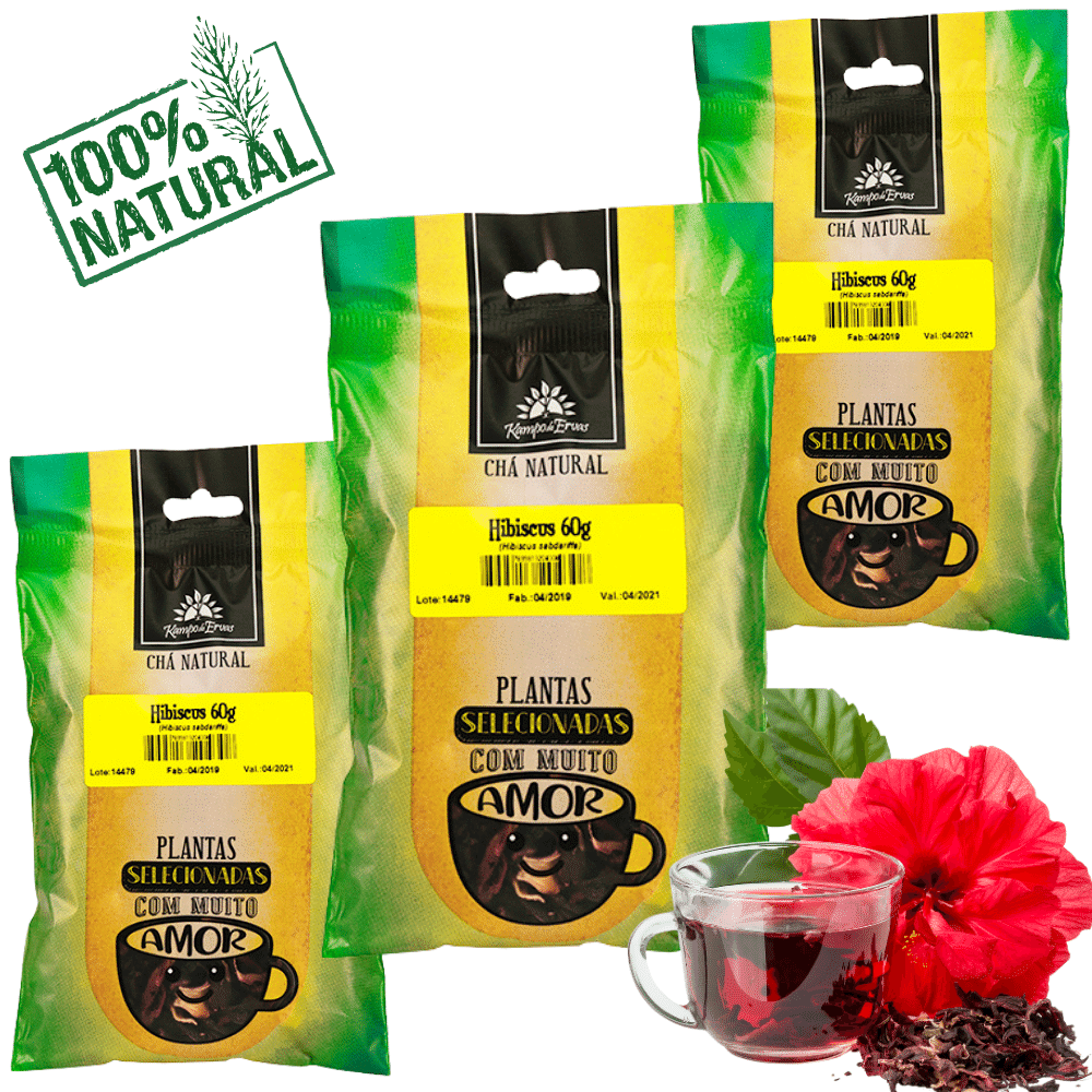 Hibisco Chá PURO 3 pacotes 60g cada 100 % Natural só Flores