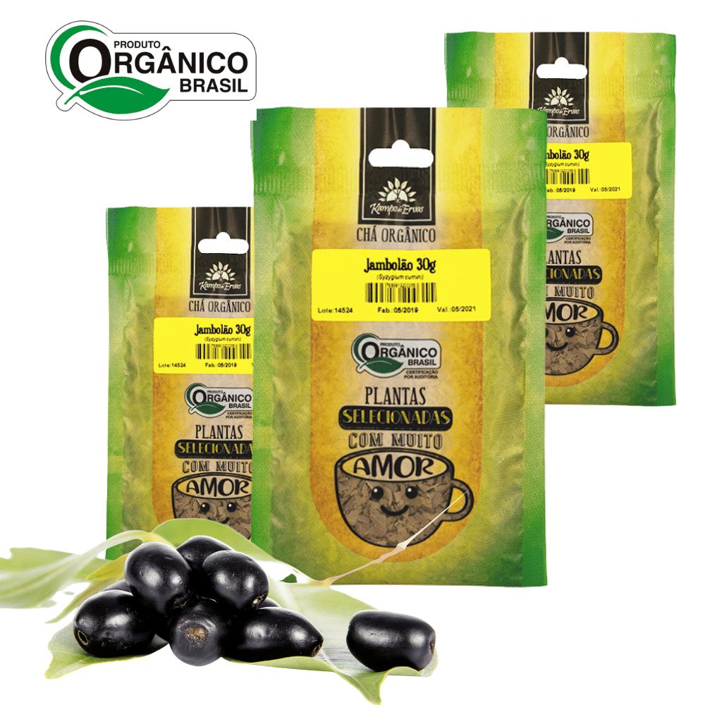 3 Chás de Jambolão 100% Folhas 30 g - Orgânico e Certificado