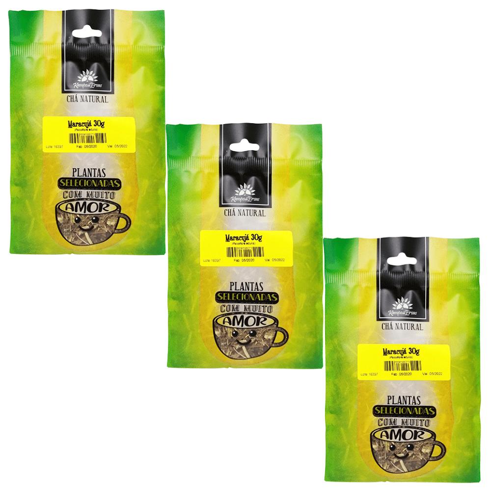 Maracujá Chá 100 % Folhas Kampo de ervas 3 und com 30 g cada