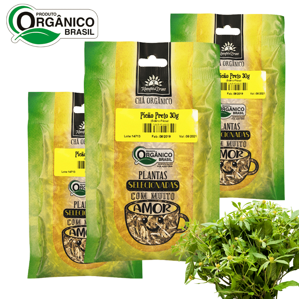 3 Chás de Picão Preto 100% Folhas 30g Orgânica e Certificado