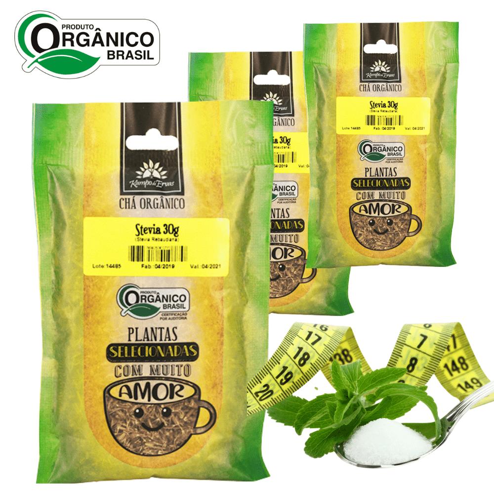3 Chás de Stévia 100 % Folhas 30 g Orgânica e Certificada
