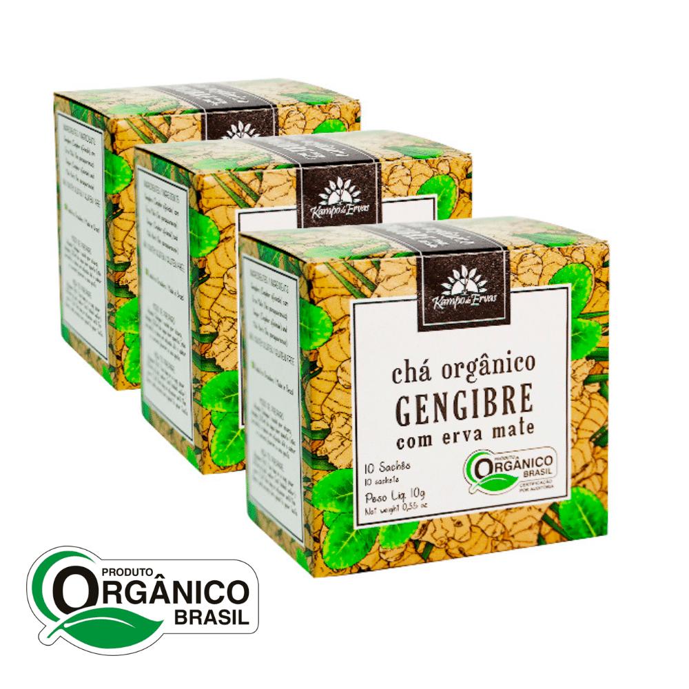 Gengibre com Mate Chá Orgânico e Certificado 30 sachês Kampo