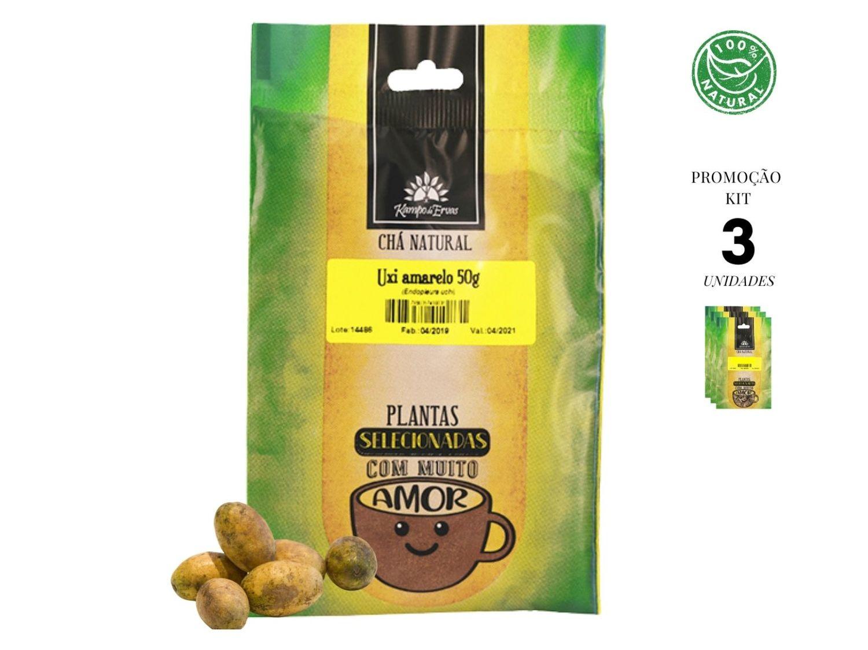 Uxi Amarelo Chá 100% pó da casca Kampo Ervas 3und 50g cada