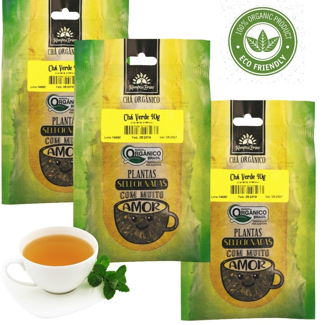 Chá Verde Orgânico 100% Folhas 3 und 40g cada Kampo de Ervas
