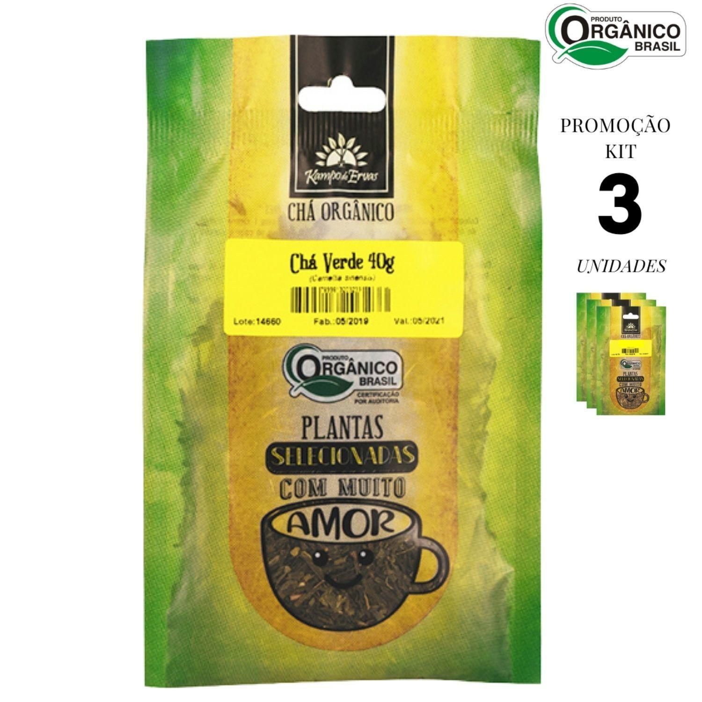 Chá Verde Orgânico Kampo de Ervas 100% Folhas 3 und 40g cada