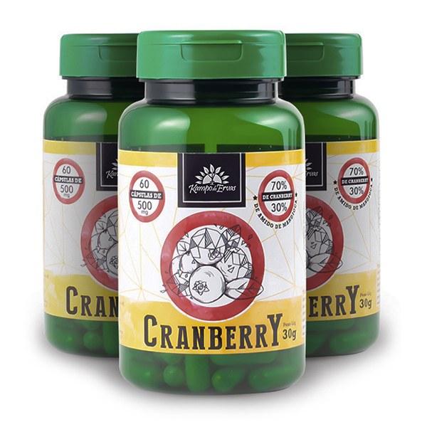 3 Cranberry 60 cápsulas de 500 mg cada 70 % Frutos