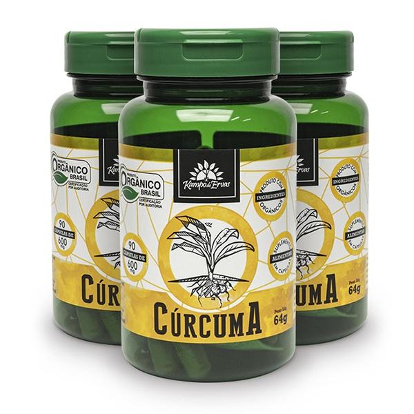 Cúrcuma Pura Orgânica 600 Mg 3 potes com 90 Cápsulas cada