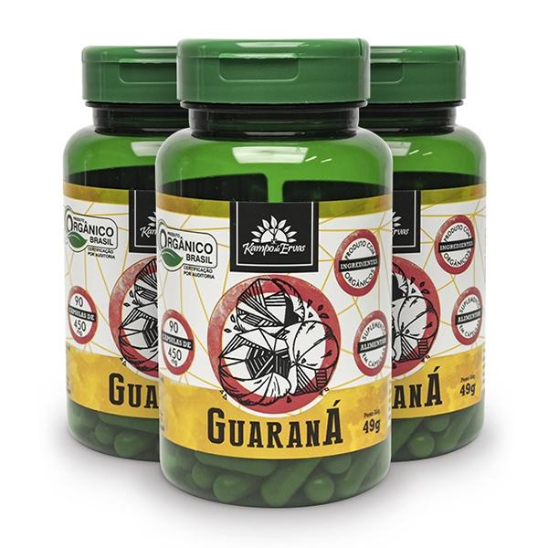 3 Guaraná Puro - 90 Cáps De 450 Mg - Orgânico E Certificado