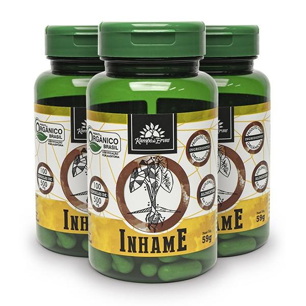 3 Inhame Puro - 100 Cáps De 500 Mg - Orgânico E Certificado
