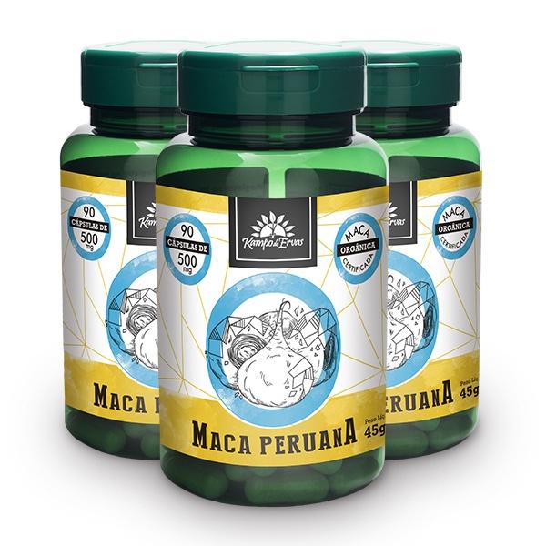 Maca Peruana Pura 500mg 3 potes com 90 cápsulas cada