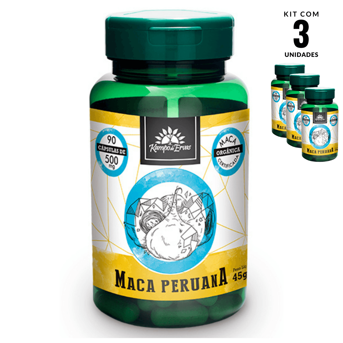 Maca Peruana Orgânica Import 500mg Kampo Ervas 3un 90cáp cad
