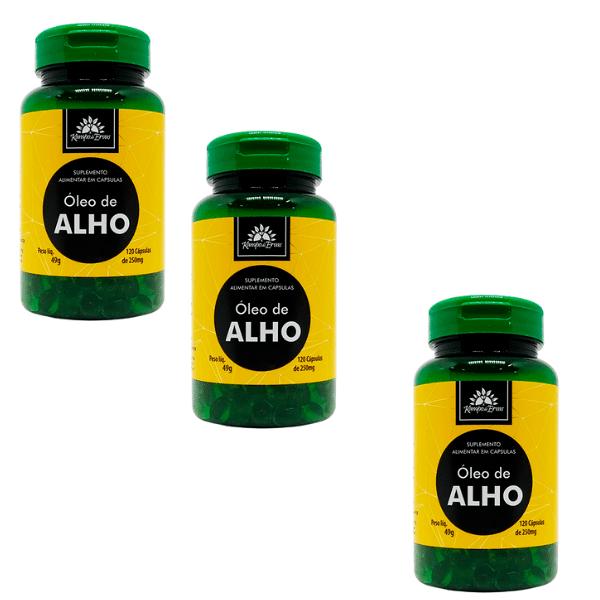 3 Óleos de Alho 100% Natural 120 Cápsulas de 250 mg cada