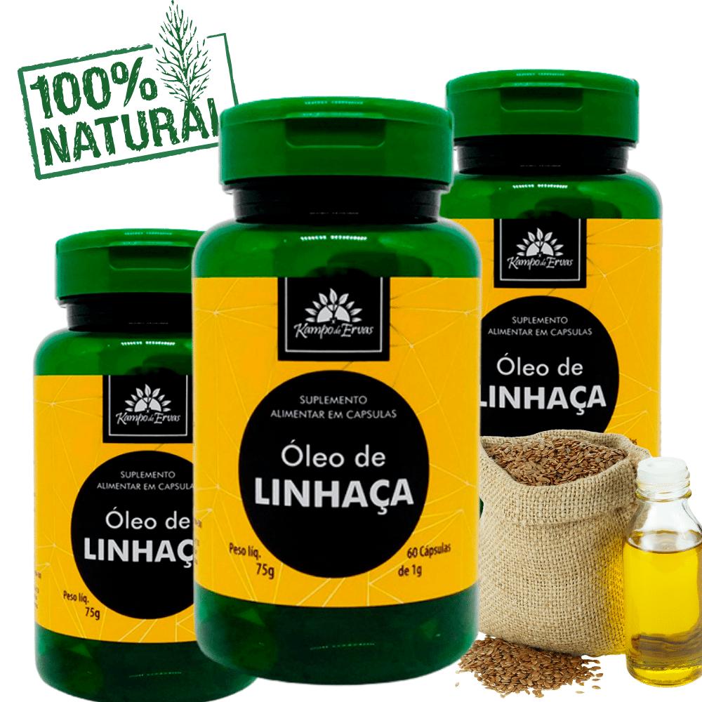 3 Óleos de Linhaça PURA 100 % Natural 60 cápsulas de 1 g