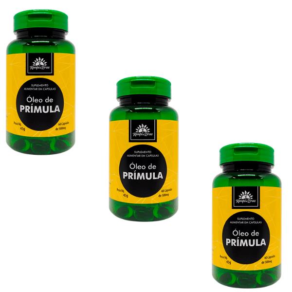 3 Óleos de Prímula PURO 100 % Natural 60 cáps de 500 mg cada