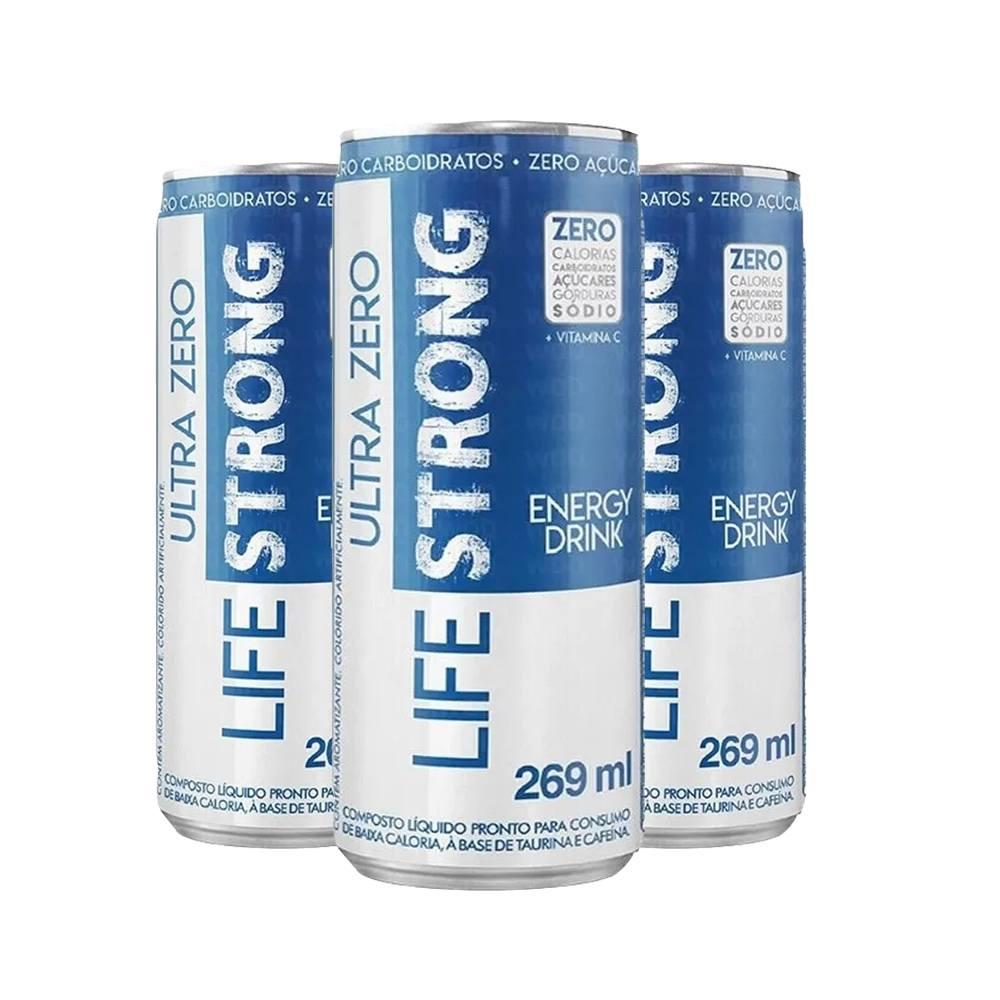 3x Energético Life Strong Energy Drink 269ml Tradicional - Zero Tudo