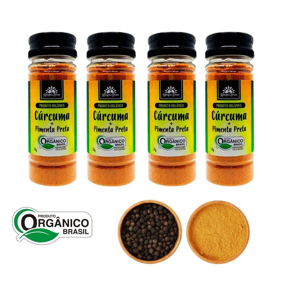 Cúrcuma com Pimenta Preta 4 potes 70g cada Orgânica e Certif