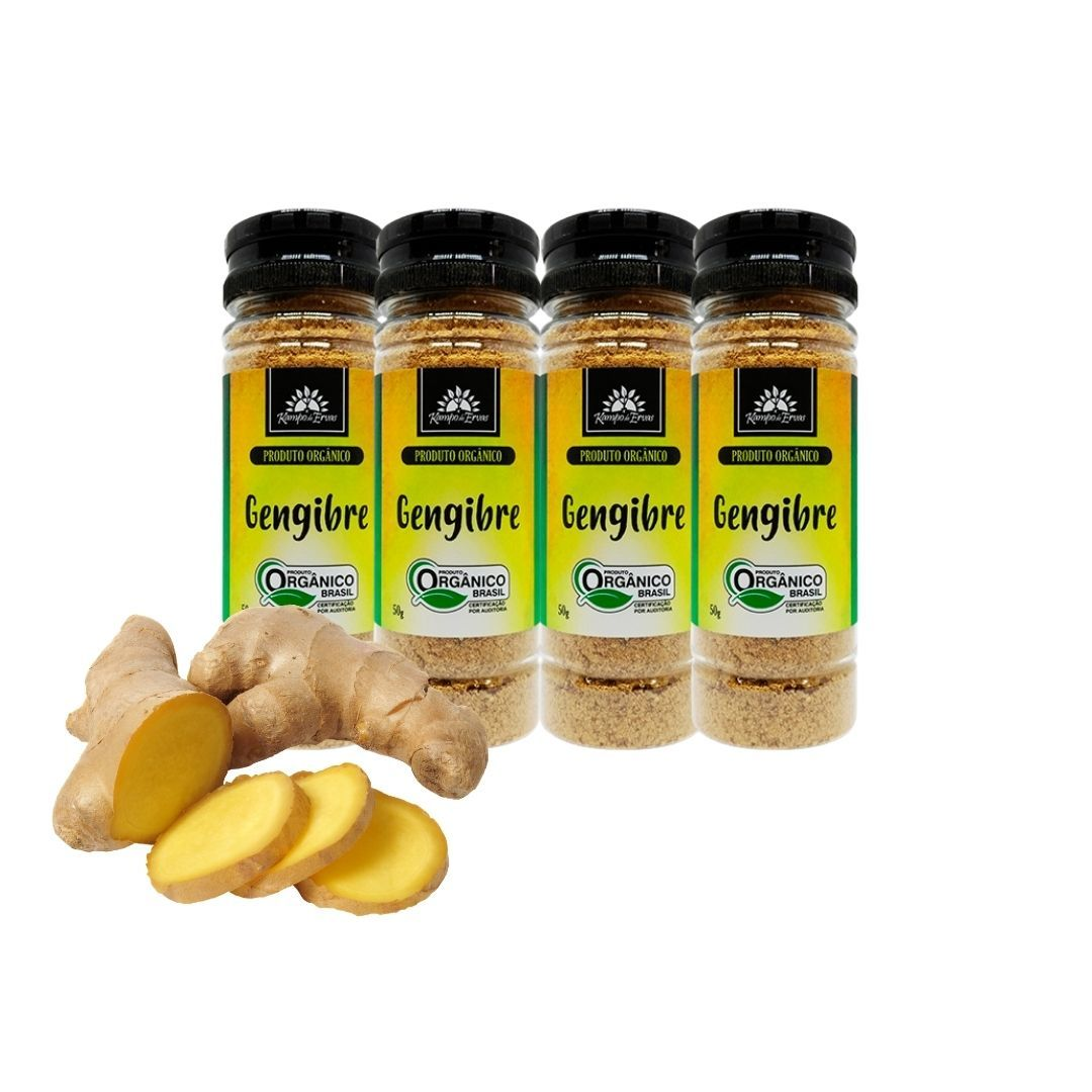 Gengibre Orgânico em Pó 4 frascos de 50g Kampo de Ervas