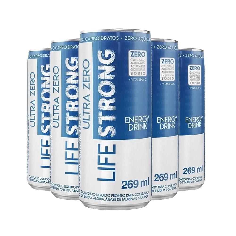 5x Energético Life Strong Energy Drink 269ml Tropical - Zero Tudo
