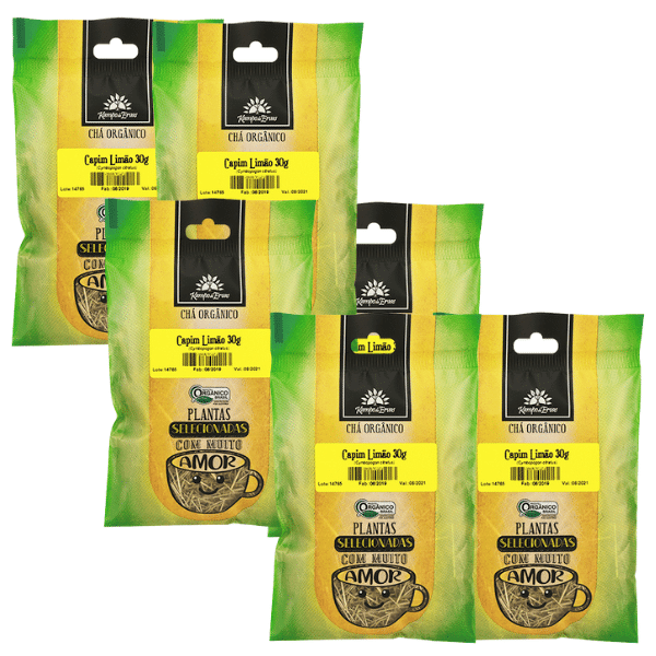 Capim Limão Orgânico Kampo de Ervas só Folhas 6 und 30g cada