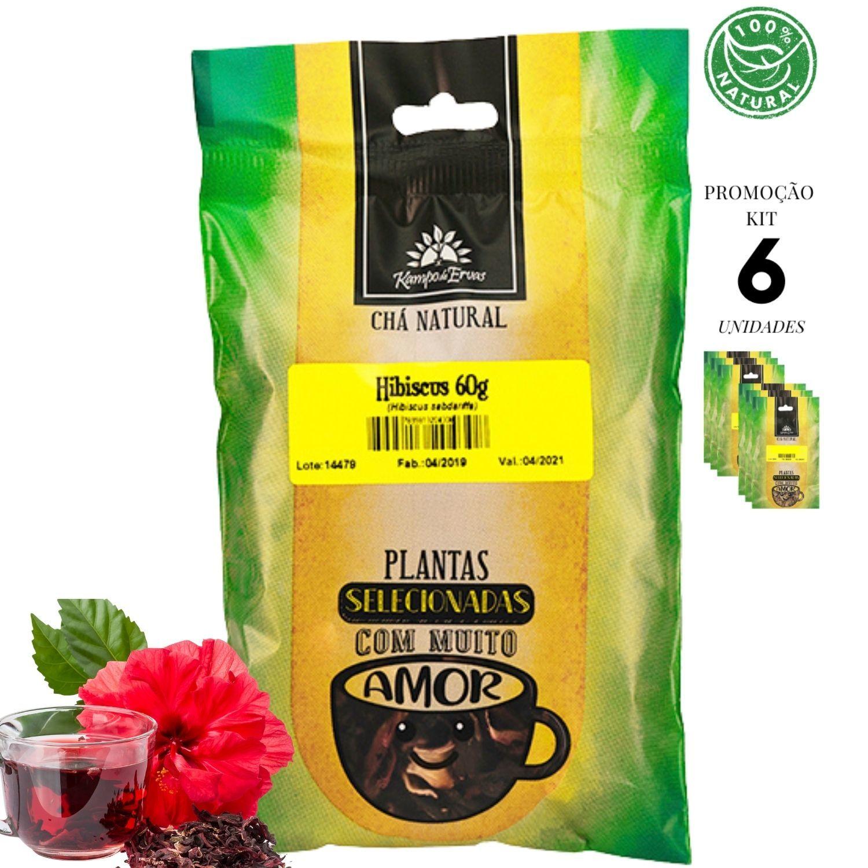 Hibisco Chá 100% Natural só Flores Kampo Ervas 6und 60g cada