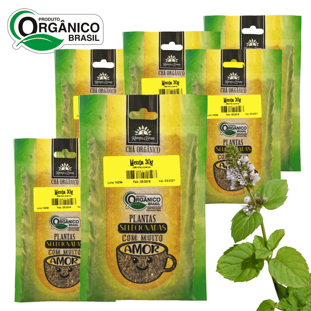 6 Chás de Menta Piperita 100% Folhas 30 g Orgânica e Certif