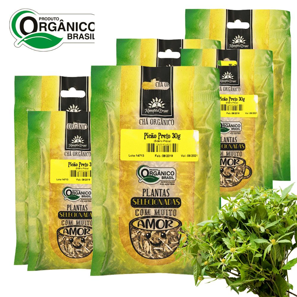 6 Chás de Picão Preto 100% Folhas 30g Orgânica e Certificado