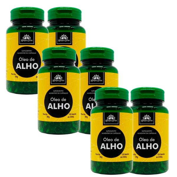 6 Óleos de Alho 100% Natural 120 Cápsulas de 250 mg cada