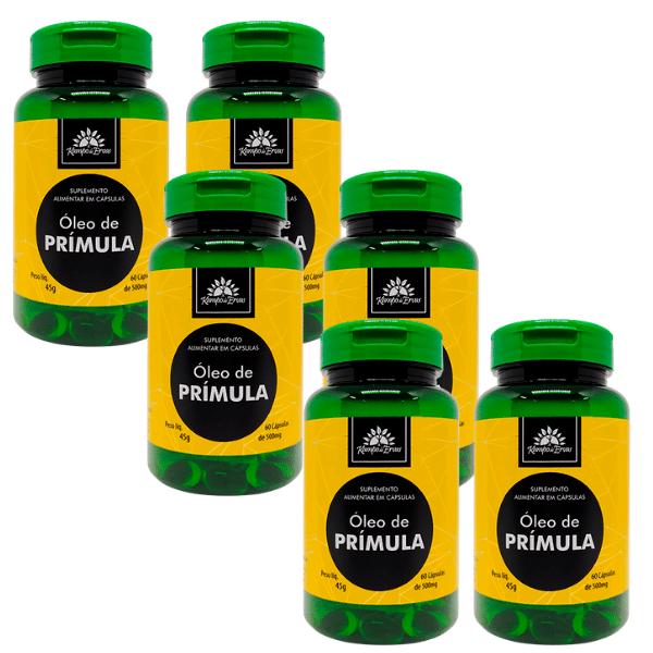 6 Óleos de Prímula PURO 100 % Natural 60 cáps de 500 mg cada
