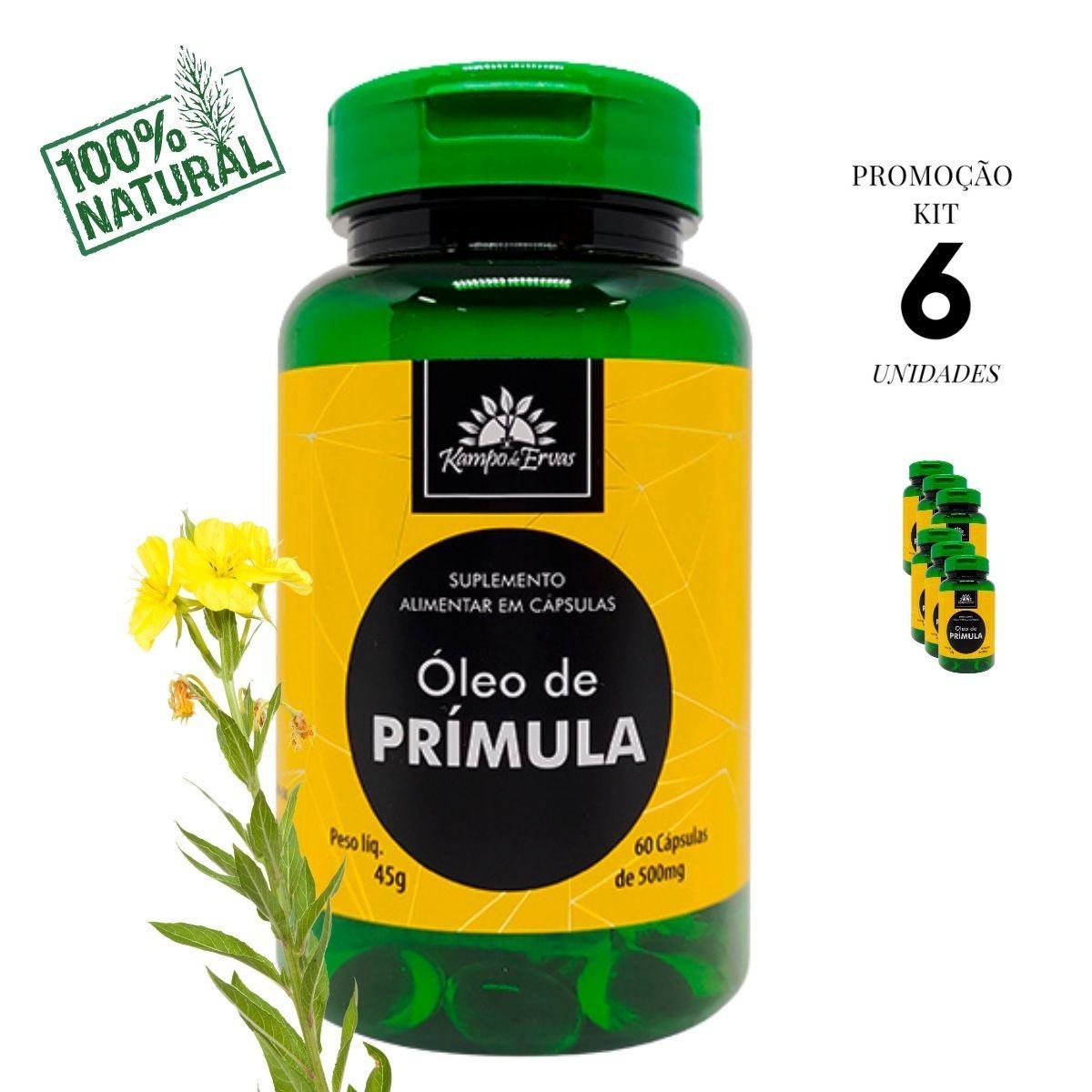 Óleo de Prímula 100% Natural 60 cáps 500 mg cada 6 frascos