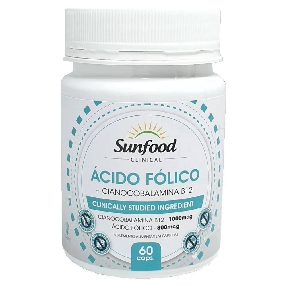 Ácido Fólico com Vitamina B12 1800 mcg 60 Cáps. Sunfood