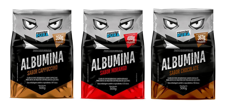 Albumina 500g Cada Pacote Sabores (Capuccino, Morango, Chocolate) - Proteína Pura