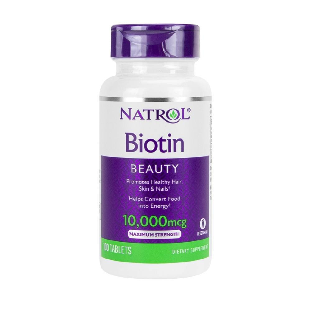Biotin 10 mg (10,000 mcg) 100 Tablets Natrol