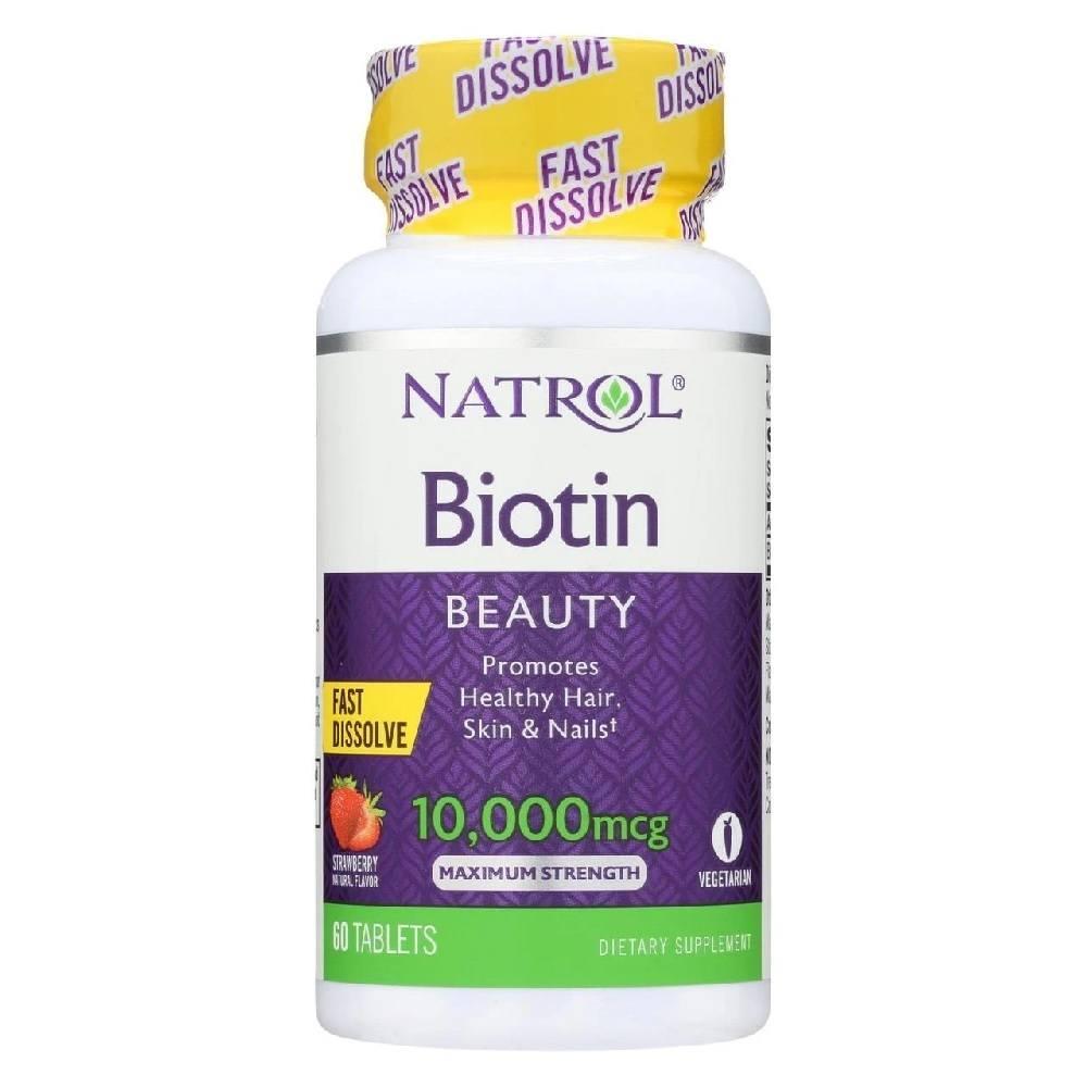 Biotin 10 mg (10,000 mcg) 60 Tablets Morango Natrol