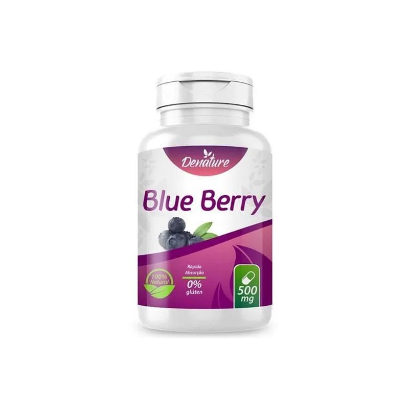 Blueberry 500mg 100 Capsulas mirtilo Antioxidante anti inflamatorio Rejuvenescimento - Denature