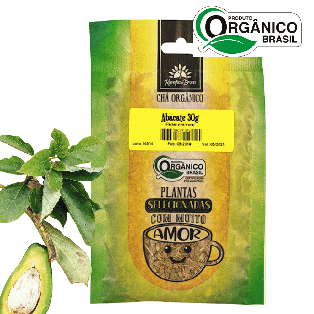 Abacate Chá Orgânico e Certificado PURO 100% Folhas 30 g