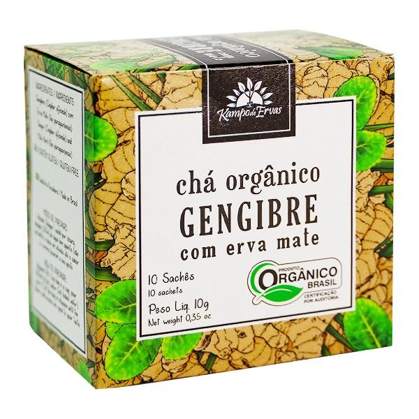 Gengibre Chá Orgânico com Erva Mate Kampo de Ervas 10 sachês