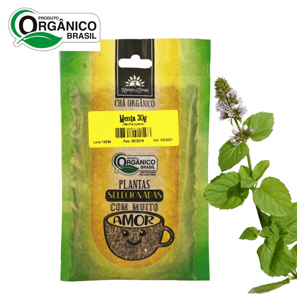 Chá de Menta Piperita 100% Folhas 30 g Orgânica e Certific
