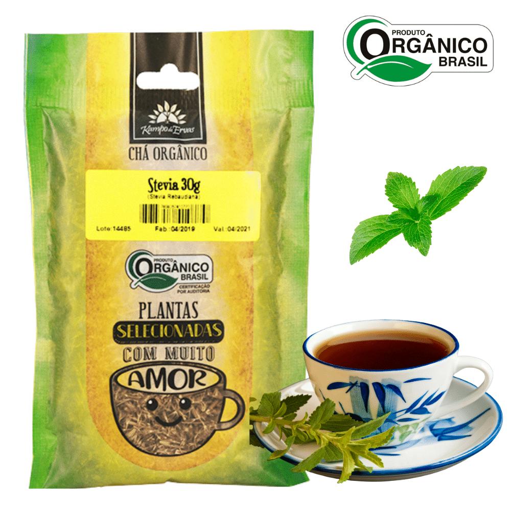 Chá de Stévia 100 % Folhas 30 g Orgânica e Certificada