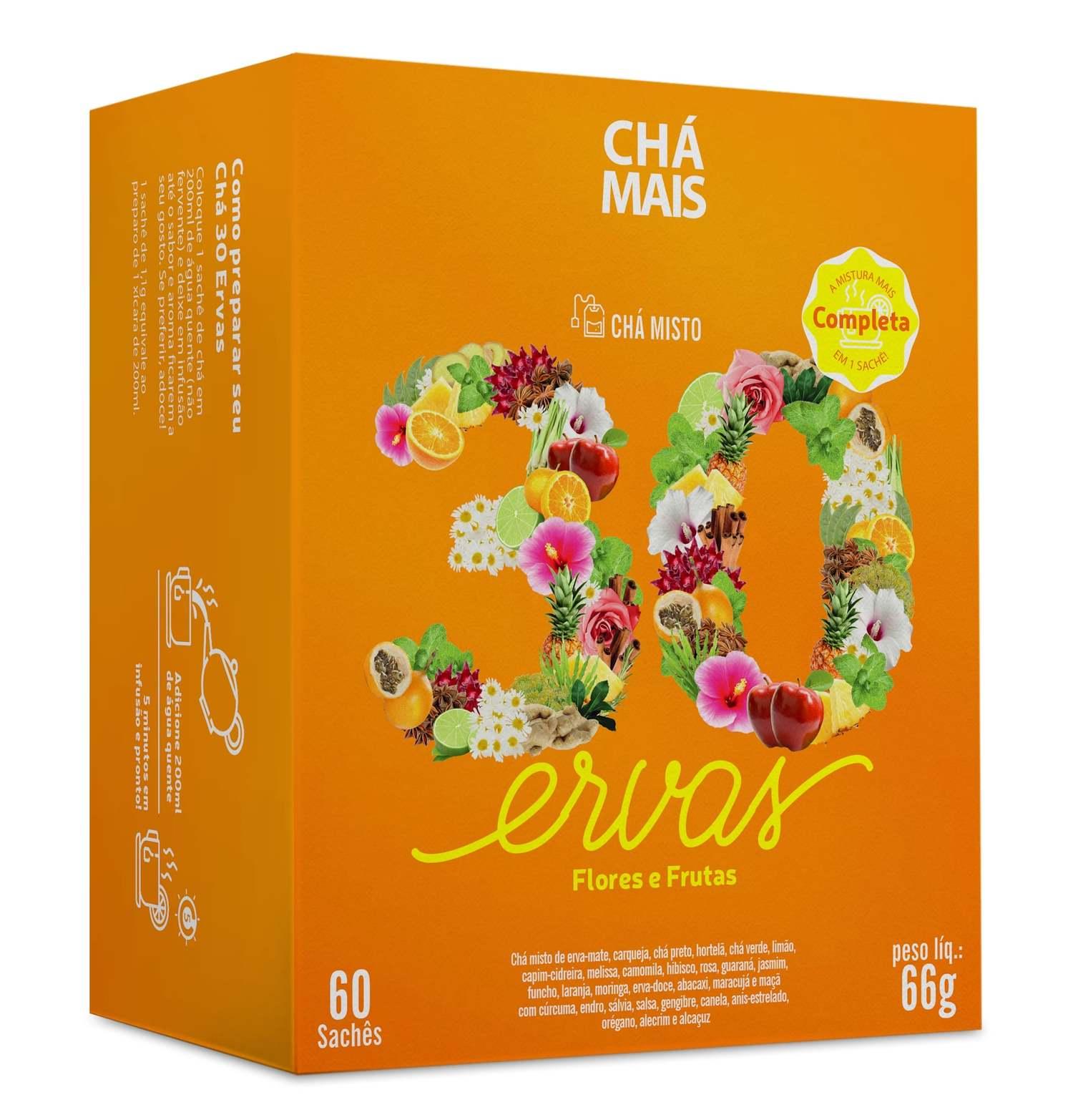 Chá Misto 30 Ervas, Flores e Frutas 60 Sachês
