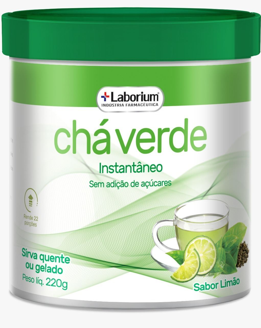 Chá Verde Instantâneo - Taurina/ Stévia 220g - Laborium