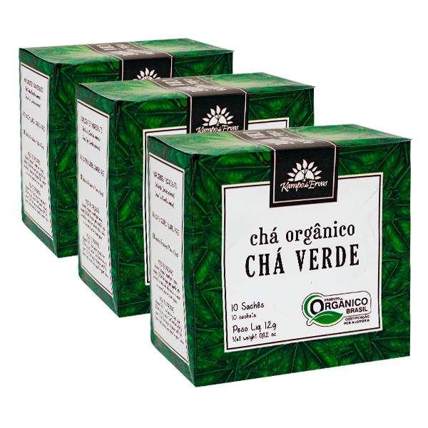 Chá Verde Orgânico Kampo de Ervas 3 cx 10 sachês em cada