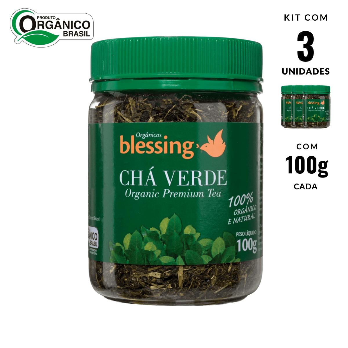 Chá Verde Orgânico Premium Folhas e Talos Blessing 3 und