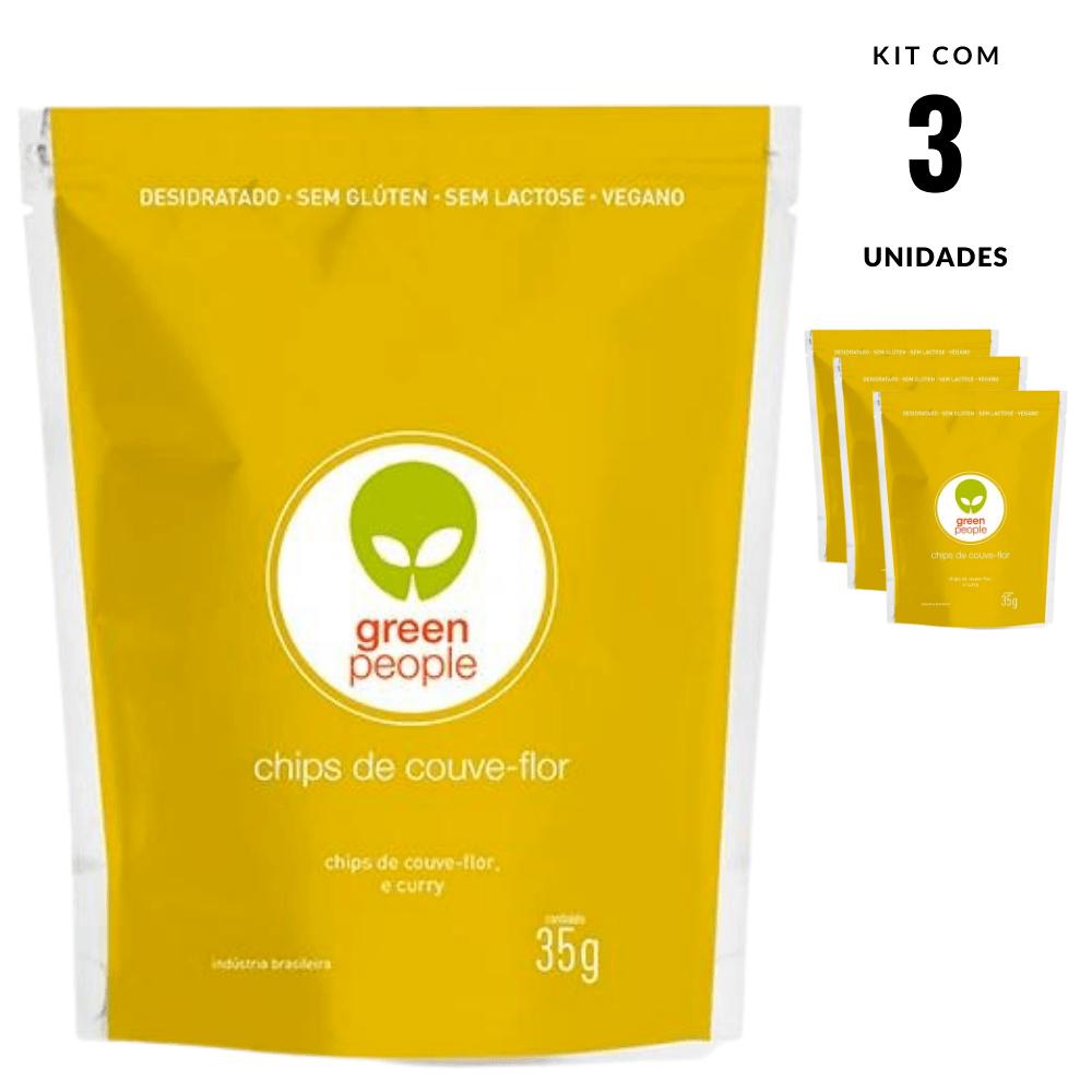 Chips Couve Flor Snack Vegano Greenpeople 3 und 35 gr cada